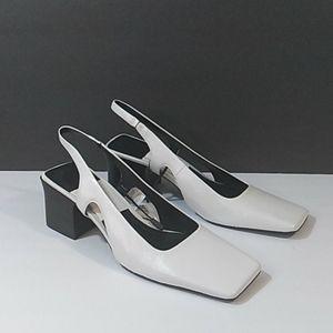 ZARA square toe white slingback sandals 7.5